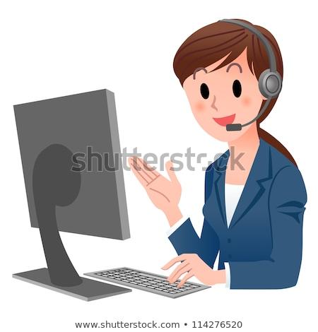 telefon · operatör · yalıtılmış · beyaz · iş · mutlu - stok fotoğraf © mr_vector