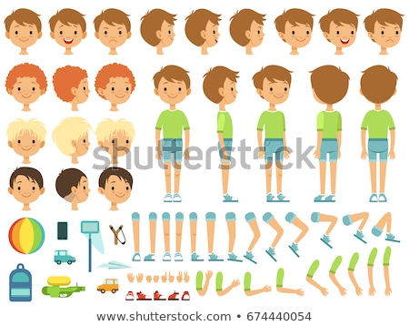 Szett fiú karakter gyűjtemény eps10 vektor Stock fotó © ratch0013