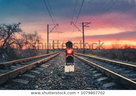 Spoorweg silhouet water zonsondergang meer fotografie Stockfoto © remik44992