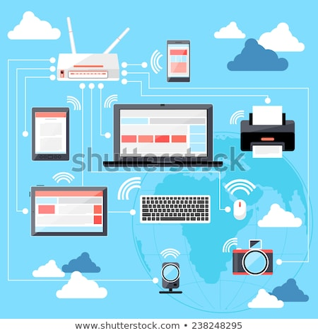 Wifi workstation with globe and router concept Stock photo © robuart
