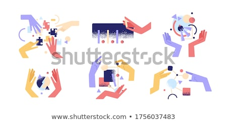 Stock photo: Symbols Of Hands Holding Different Things