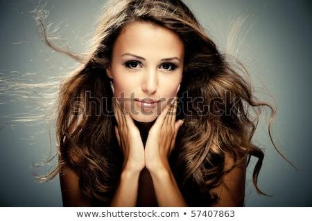 portret · mooie · vrouw · lang · bruin · haar · meisje - stockfoto © victoria_andreas