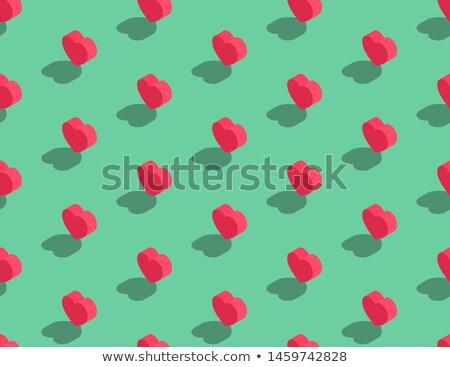 Green heart seamless background pattern flat design Stock photo © slunicko