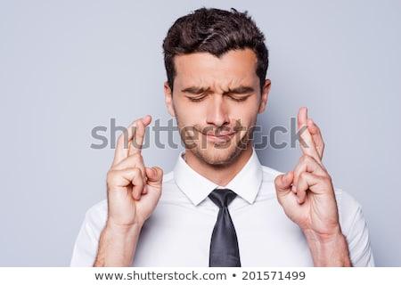 Zakenman vingers hoop optimisme werk Stockfoto © godfer