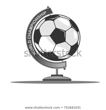 футбольным · мячом · мира · стоять · 3d · иллюстрации · Футбол · весело - Сток-фото © hd_premium_shots