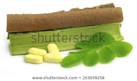 Yaprakları havlama hapları beyaz yeşil tıp Stok fotoğraf © bdspn
