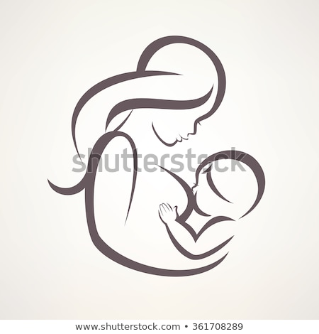 Mother breastfeeding her baby sketch icon Stock photo © RAStudio