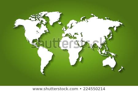 Stock photo: green world map, 3D dots, vector