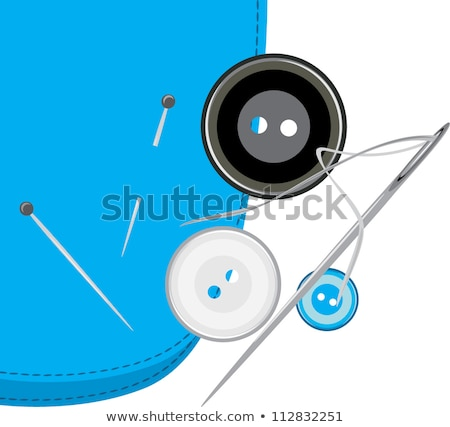 Bright sewing buttons and needles on gray fabric Stock photo © tetkoren