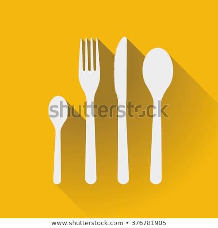 3  カトラリー アイコン 実例 白 食品 ストックフォト © nickylarson974