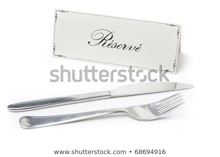 felirat · francia · villa · kés · általános · fehér - stock fotó © hfng
