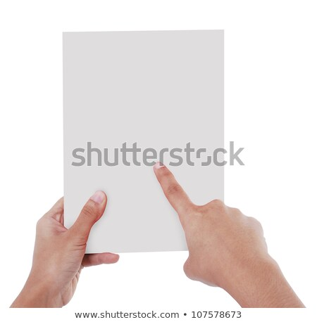 Humans right finger pointing at big blank paper Stock photo © cherezoff
