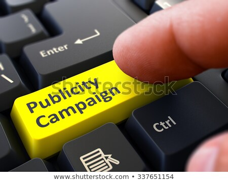 Geel knop campagne zwarte toetsenbord Stockfoto © tashatuvango