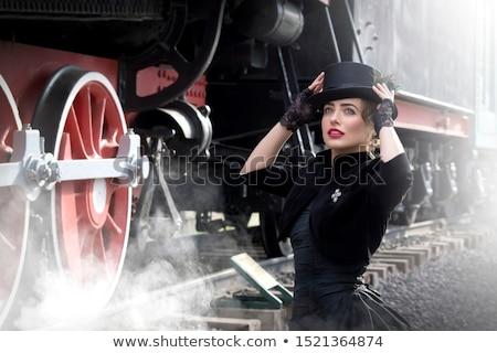 chica · atractiva · blanco · corsé · aislado · negro - foto stock © svetography