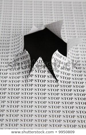 Сток-фото: лист · бумаги · печати · слово · остановки · Cut