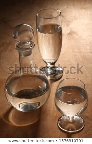 Kettő szemüveg vodka áll asztal hideg Stock fotó © Mikko