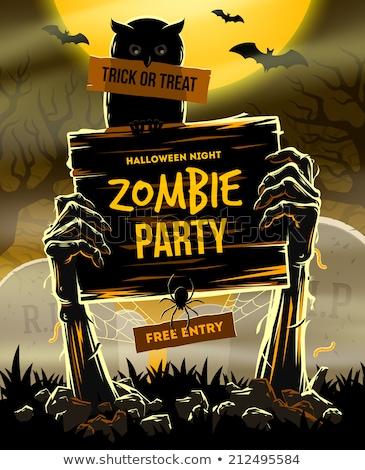 halloween · ölü · silah · zemin · davetiye · zombi - stok fotoğraf © rommeo79