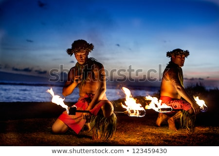 Indigenous man at sunset Stock photo © adrenalina