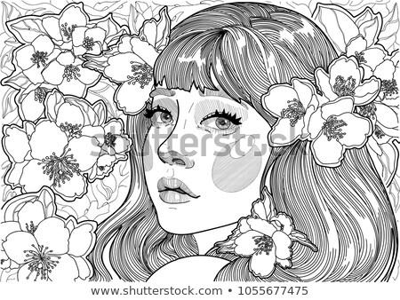 美しい 若い女性 香ばしい リンゴ 木 小さな ストックフォト © majdansky