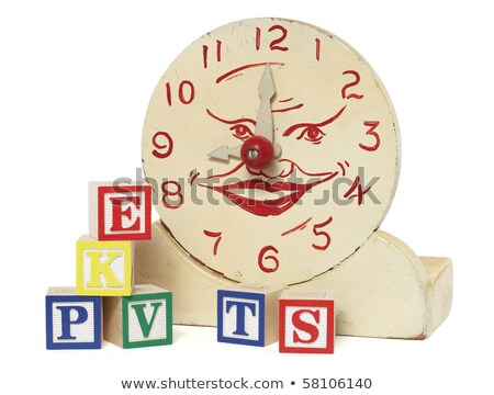Old Handmade Wooden Toy Clock and Alphabet Blocks Stock photo © 3mc