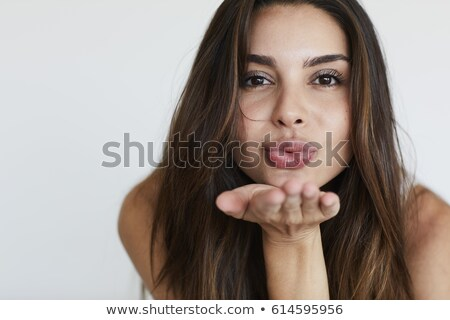 Stok fotoğraf: Güzel · bir · kadın · öpücük · yalıtılmış · beyaz · el