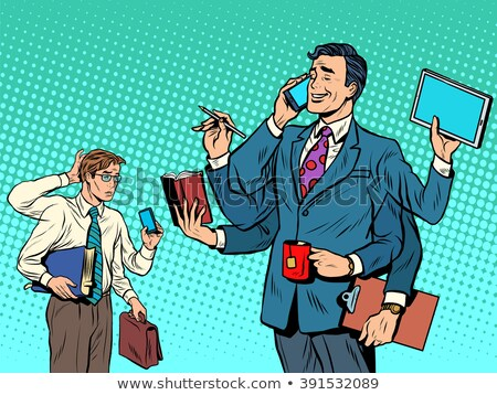 Cool успешный бизнесмен неудачник Поп-арт ретро-стиле Сток-фото © studiostoks