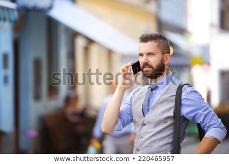 Hipszter üzletember hívás iroda telefon boldog Stock fotó © wavebreak_media