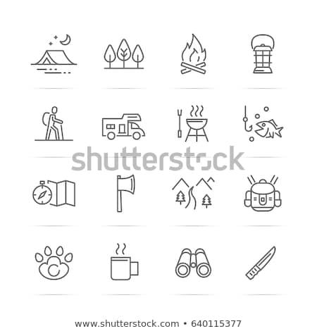 Kampvuur lijn icon web mobiele infographics Stockfoto © RAStudio