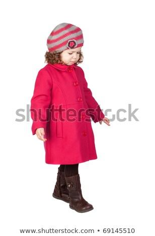 dość · dziewczyna · ciepły · ubrania · odizolowany · biały - zdjęcia stock © elnur