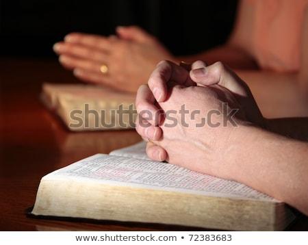 nő · imádkozik · kezek · együtt · fehér · imádkozik - stock fotó © lincolnrogers