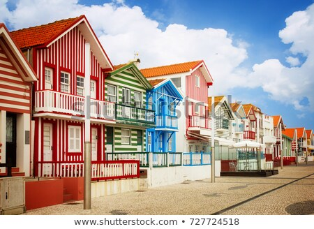 Portugal típico listrado casas retro Foto stock © neirfy