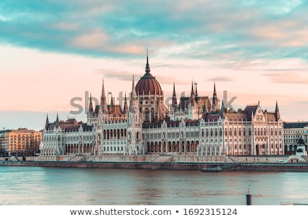 Hongaars parlement gebouw zonsopgang verlicht Boedapest Stockfoto © Kayco