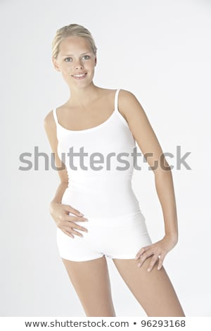 Young beauty wearing white underwear Stock photo © konradbak