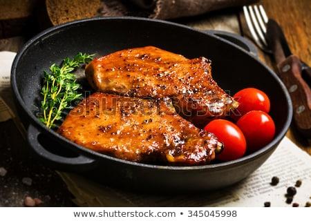Marinált disznóhús kotlett zöldségek felszolgált hús Stock fotó © Digifoodstock