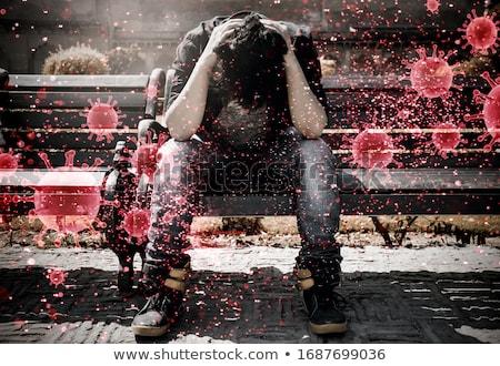 Lány tüsszentés köhögés bacilusok illusztráció gyermek Stock fotó © bluering