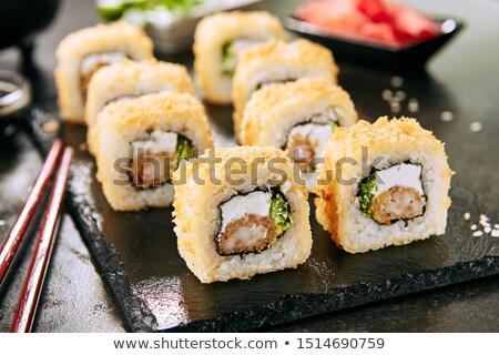 fried shrimp with cream and rice stock photo © m-studio