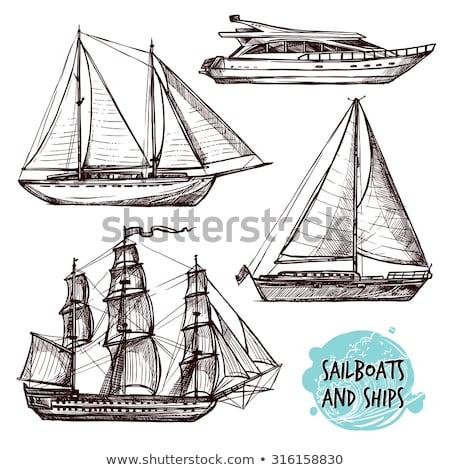 Jacht rajz ikon vektor izolált kézzel rajzolt Stock fotó © RAStudio