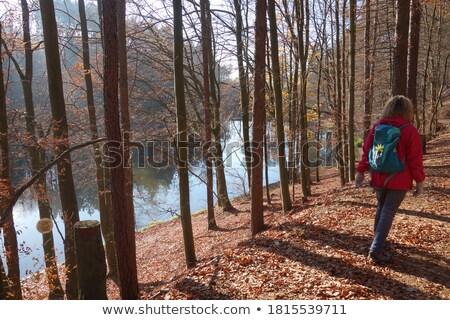 Kadın kırmızı ceket mutlu dağlar manzara Stok fotoğraf © kb-photodesign