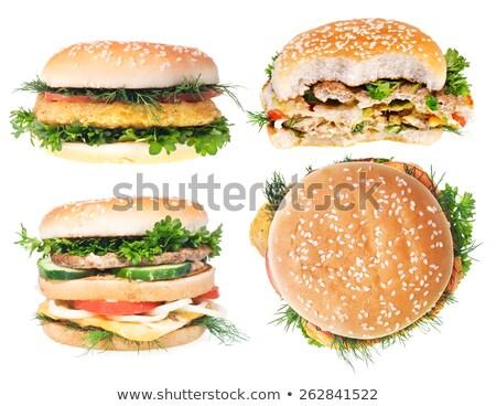büyük · domuz · pastırması · Burger · örnek · dizayn · ikon - stok fotoğraf © bluering