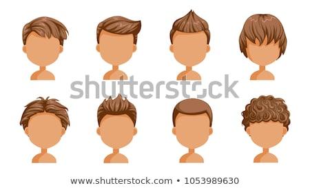 Chłopca kręcone włosy ilustracja uśmiech szczęśliwy dziecko Zdjęcia stock © bluering