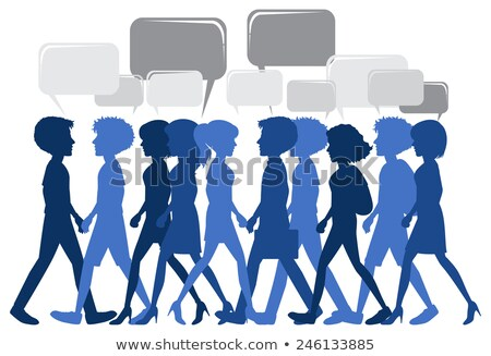 people walking with empty callouts stock photo © bluering