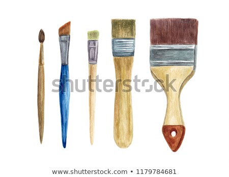 Stock photo: Watercolors and paint brush on white wooden background