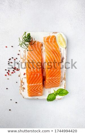 Fresh salmon in the white table Stock photo © tycoon