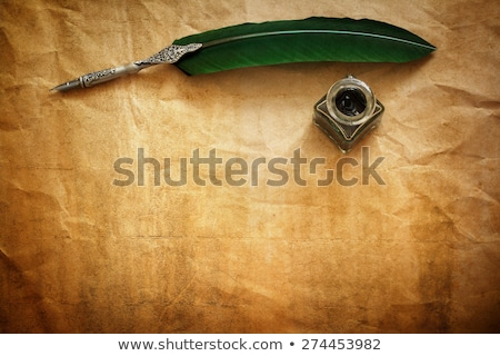 Сток-фото: Quill Pen And Inkwell On Black Background