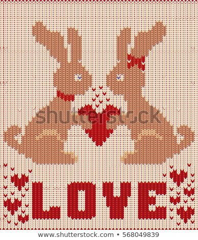 Stockfoto: Happy Valentines Day Knitted Card With Two Rabbit And Heartsvector Illustration