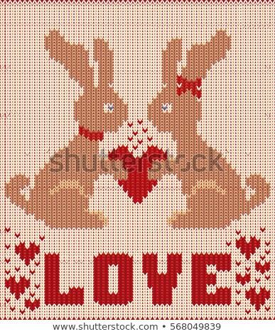 Stockfoto: Gelukkig · valentijnsdag · gebreid · kaart · twee · konijn