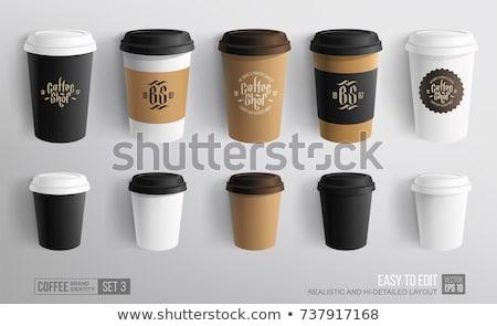 Valósághű forró kávéscsésze csomag vázlat sablon Stock fotó © frimufilms