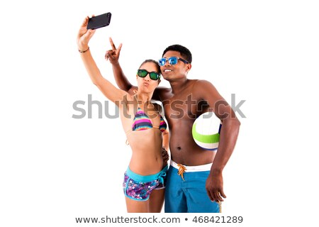 portrait of two funny friends on the beach   isolated stock photo © majdansky