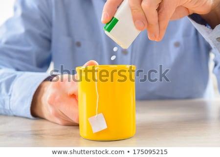 Yapay tatlandırıcı cam çanak beyaz Stok fotoğraf © Digifoodstock