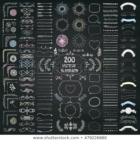 Stock photo: Calligraphic frames and borders with corner elements on a chalkboard background - vector set